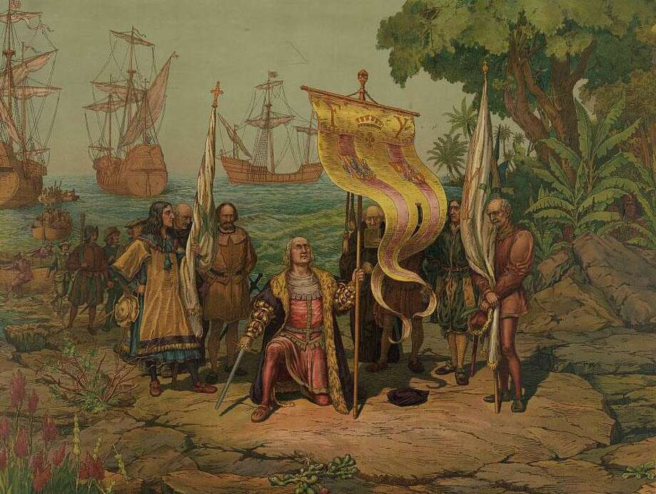 Christopher Columbus kneeling, holding flag and sword with two other men holding flags. It was and is horrid to stick a flag in someone's land and call it your own. And, yet, there are lasting benefits Western civilization brought to the Americas. Photo: /Library Of Congress