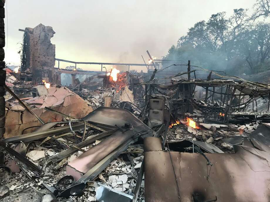 The Atlas fire destroyed the Signorello Estate, winery the Silverado Trail in Napa on Monday, October 9, 2017. Photo: Evan Sernoffsky