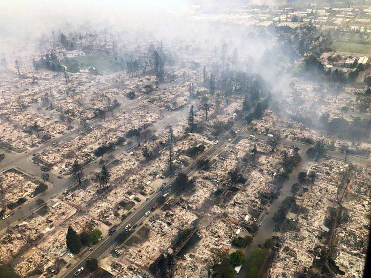 This image provided by the California Highway Patrol shows destruction in Santa Rosa's Coffey Park neighborhood on Monday, October 9, 2017.