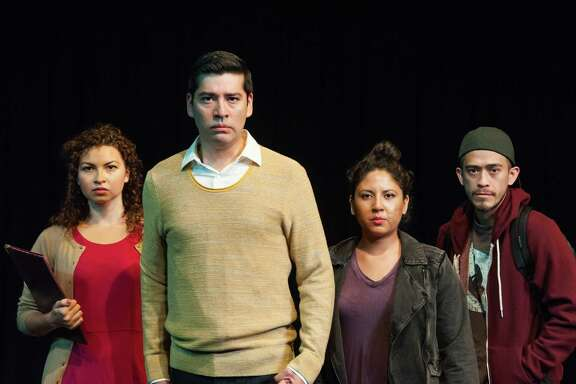 "Maya Malan-Gonzalez, Ivan Jasso, Liz Magallanes, David Zaldé­var in Cara Mia Theatre Co.'s ""Deferred Action"""