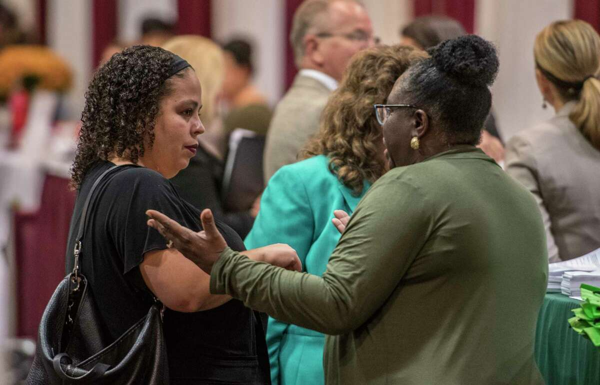 A large crowd was on hand for the Job Fair at the Marriott Hotel on Wolf Road Monday Oct. 9, 2017 in Colonie, N.Y. (Skip Dickstein/Times Union)