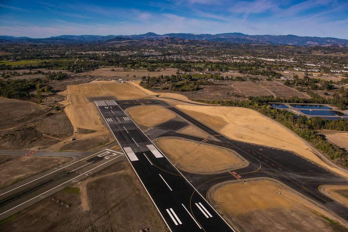 SANTA ROSA, CA - OCTOBER 21: The new extended commerical airline runways at Charles M. Schulz Airport are viewed on October 14, 2014, in Santa Rosa, California. Located one hour north of San Francisco, Sonoma County is the largest wine producer on California's North Coast and is visited by more than 7 million tourists each year. (Photo by George Rose/Getty Images)