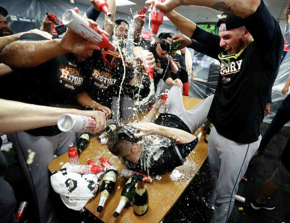 PHOTOS: Astros' epic celebration after winning the ALDS Houston Astros Ken Giles lies on the table as he gets doused in beer by other pitchers including Joe Musgrove after the Astros beat Boston Red Sox 5-4 in the ALDS Game 4 at Fenway Park, Monday, Oct. 9, 2017, in Boston. Browse through the photos above for a look at the Astros' locker room celebration after Monday's win to eliminate the Boston Red Sox.