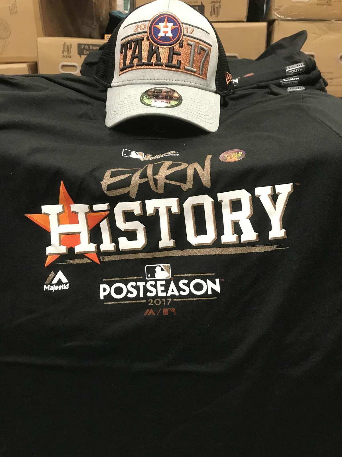 All Houston area Academy Sports + Outdoors stores already are selling new Astros playoff shirts after the Astros eliminated the Boston Red Sox on Monday to advance to the ALCS.