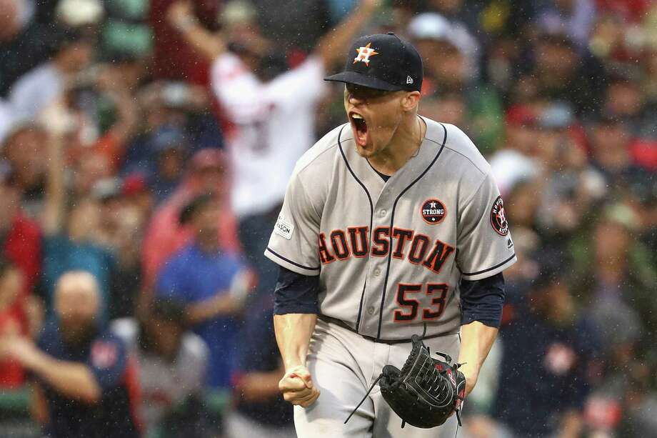 BOSTON, MA - OCTOBER 09:  Ken Giles #53 of the Houston Astros celebrates after recording the final out in the ninth inning to defeat the Boston Red Sox 5-4 in game four of the American League Division Series at Fenway Park on October 9, 2017 in Boston, Massachusetts. The Houston Astros advance to the American League Championship Series.  (Photo by Maddie Meyer/Getty Images) Photo: Maddie Meyer, Staff / 2017 Getty Images
