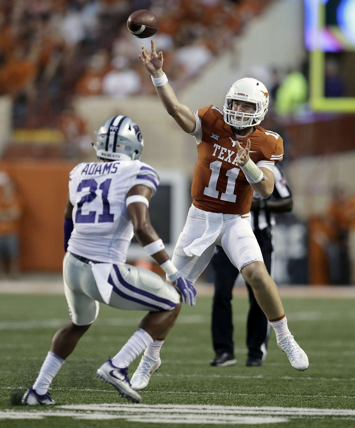 8. Texas and Kansas State SRFPS Aggregate Score: 49.01 These programs have only met a total of 19 times. Surprisingly, the Wildcats hold a 10-9 advantage in the series. (AP Photo/Eric Gay)