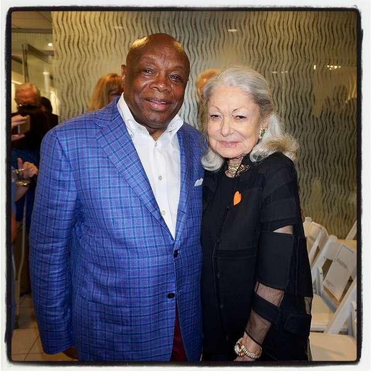 Former mayor Willie Brown and philanthropist Denise Hale at St. Mary's Medical Center. Sept. 27, 2017.