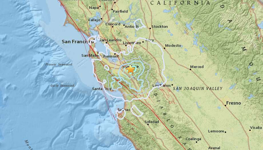 An earthquake with preliminary magnitude of 4.1 struck near San Jose on Monday, Oct. 9.  Photo: USGS