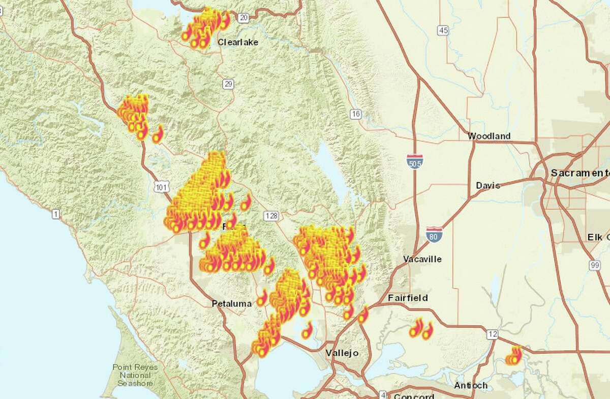 Fires raged across Northern California as firefighters battled back the Wine Country fires Monday night. Check the Chronicle's map for live updates.