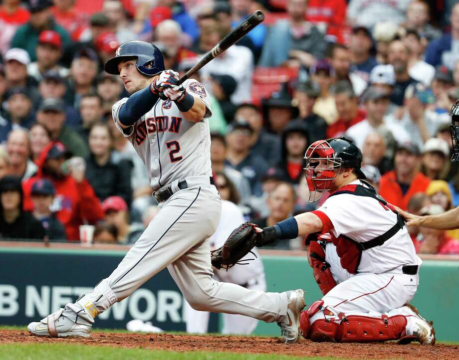 Astros third baseman Alex Bregman connects on an eighth-inning solo homer off Chris Sale that tied Monday's game at 3. It was his second ALDS long ball off Sale. Photo: Karen Warren, Staff / © 2017 Houston Chronicle