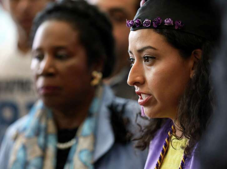 """Karen Atilano, a DACA recipient, talks about graduating from college during a press conference at the Mickey Leland Federal Building, Monday, Oct. 9, 2017, in Houston. """"(America) has been my home,"""" Atilano said. """"I haven't been to Mexico in over 20 years."""""""