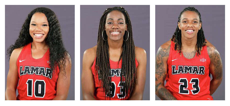 Three Lamar Lady Cardinals were named preseason All-Southland Conference first-team selections, the conference announced Monday. Guards Chastadie Barrs, left, and Moe Kinard, right, along with post player Kiandra Bowers received first-team nods after all three were second-team all-conference choices last season. (Photos provided by Lamar Athletics)