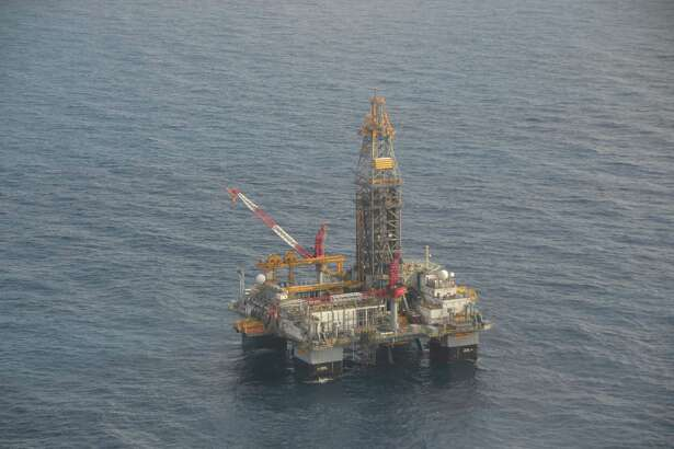 An aerial view of the Ensco 8502 drilling rig in the Gulf of Mexico, which is now drilling a delineation well for LLOG near its Marmalard prospect, about 6 miles from the site of BP's failed Macondo well.