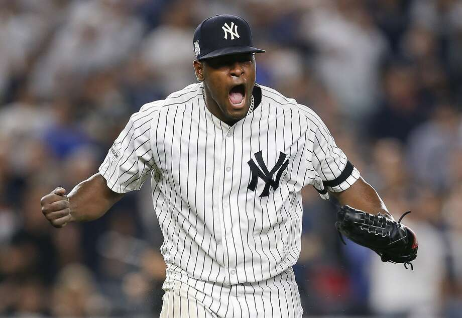 Yankees starting pitcher Luis Severino screams at the end of the top of the seventh inning against the Cleveland Indians in Game 4 of their AL Division Series. He threw seven dominant innings after getting only one out in a wild-card win over the Twins. Photo: Kathy Willens, Associated Press