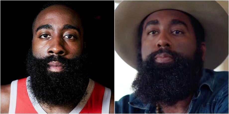 Houston Rockets player James Harden, left, and singer Nathan Graham. Photo: Elizabeth Conley/Houston Chronicle And Courtesy
