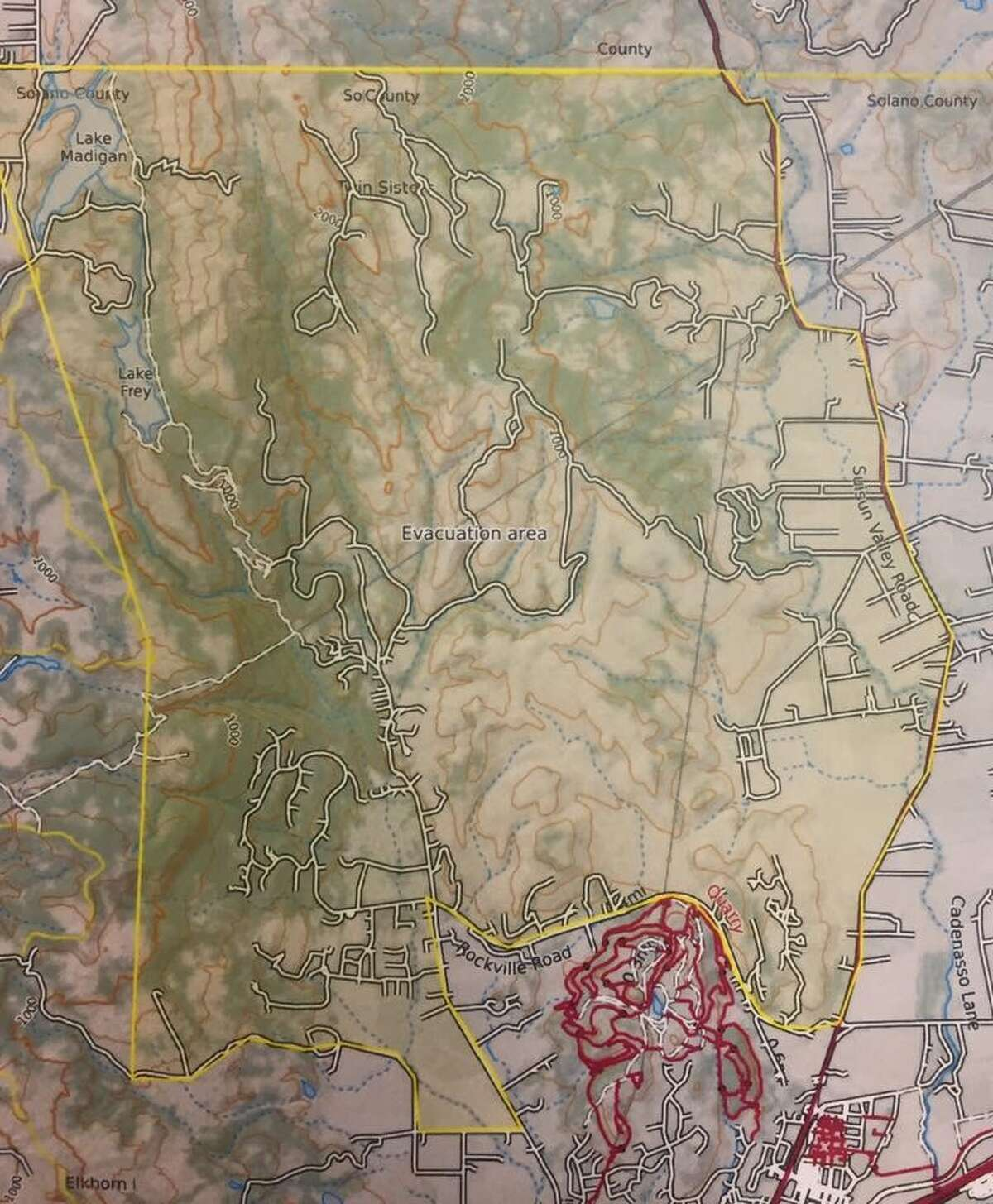 Authorities issued a mandatory evacuation order late on Monday, October 9, 2017. The order affects parts of the Green Valley area west of Green Valley Road near Fairfield, California.