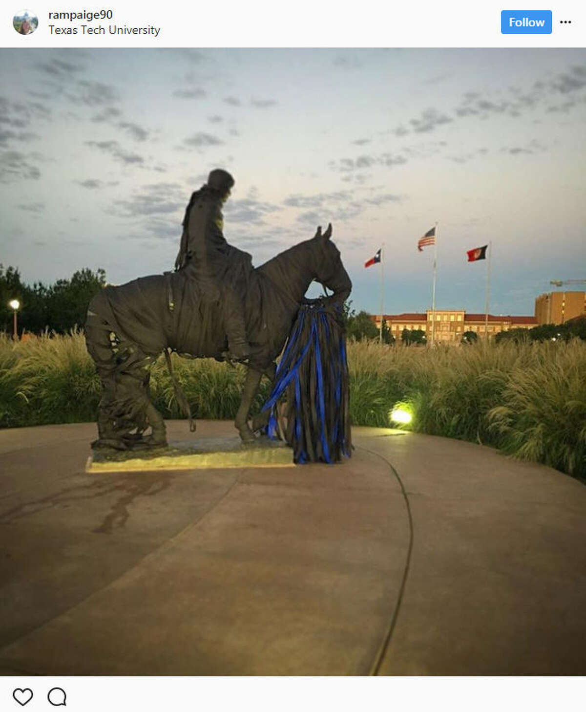 On Monday night, Texas Tech student Hollis A. Daniels allegedly shot an officer in the head after a routine welfare check after drugs were found in his dorm. After the incident, students wrapped the iconic Will Rogers & Soapsuds statue with black and blue ribbons.Source: Instagram