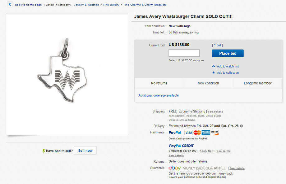 Whataburger fans that missed out on the initial run of Texas jeweler James Avery's Whataburger charms might find eBay the best and most expensive option these days.  Photo: Ebay.com