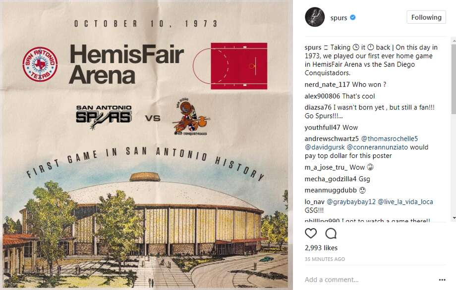 On Oct. 10, 1973, the Silver & Black ABA team debuted against the San Diego Conquistadors. The Spurs Instagram account commemorated the anniversary Tuesday morning.