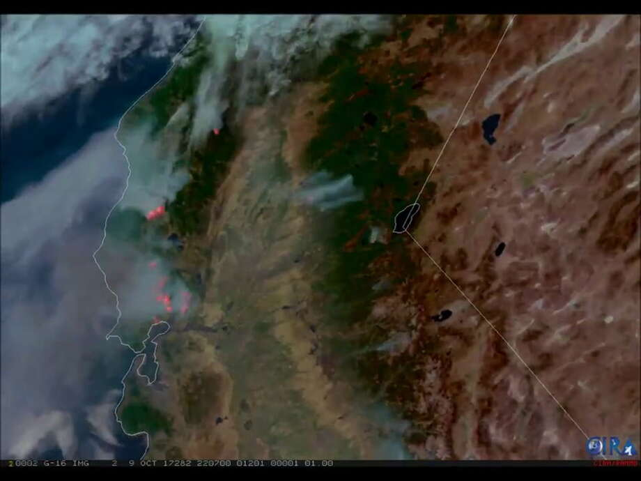 NOAA's GOES16 shows wildfires raging in Northern California, Oct. 9, 2017.