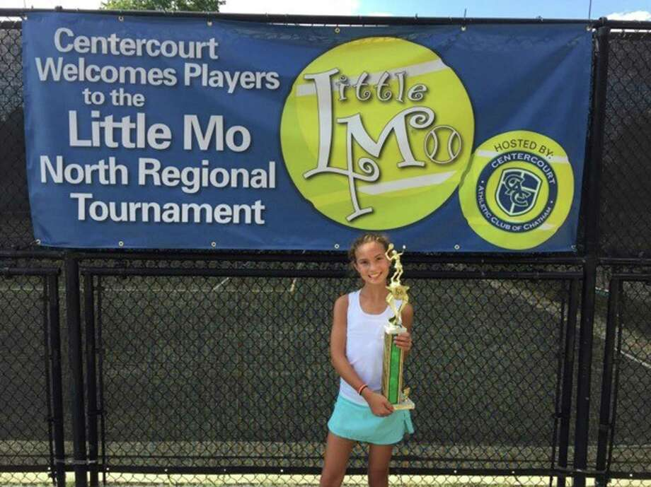 "Ten-year-old Olivia Koziol of Wilton competed in the 20th Annual Little Mo Nationals tennis tournament Sept 29-Oct 2 in Austin, TX. This event, known as the ""Road to the Little Mo Nationals"" is run by the Maureen Connelly Brinker Foundation which benefits countless numbers of children throughout the US and around the world. Olivia's oad began by winning her sectional tournament in Newtown Square, PA in May, defeating both the first and second seeds from New Jersey to capture the title. Two months later, she competed in the North Regional tournament in Chatham, NJ where she won 3 matches, defeating the #4 seed from Illinois 7-6 (8-6), 6-1. Reaching the semi-finals there qualified her for Nationals in the Girls 10s division, where she will be just one of 32 girls from around the country competing for the prestigious title. Photo: Contributed Photo / Hearst Connecticut Media / Norwalk Hour"