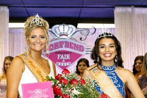 The 2016 Fort Bend County Fair Queen Katie Koerth,left, passed on the title to Marissa Salazar, the 2017 Fort Bend County fair queen, on Sept. 29.