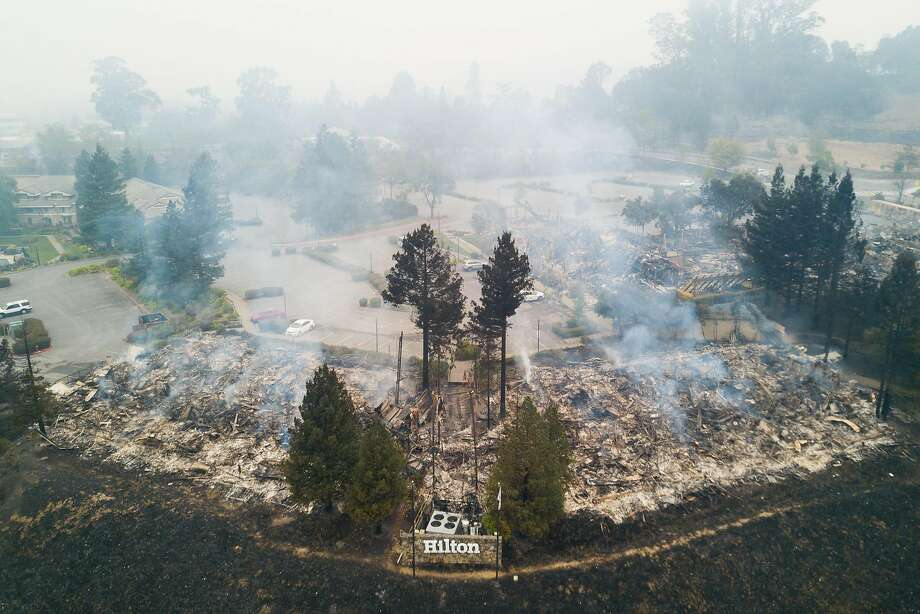 Smoldering fires are seen in the remains of the Hilton Sonoma Wine Country hotel in Santa Rosa, Calif. on Tuesday, October 10, 2017. Photo: Elijah Nouvelage, Special To The Chronicle
