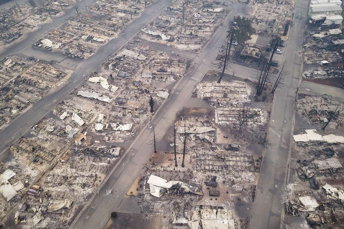 The remains of the Journey's End mobile home park are seen from the air in Santa Rosa, Calif. on Tuesday, October 10, 2017.