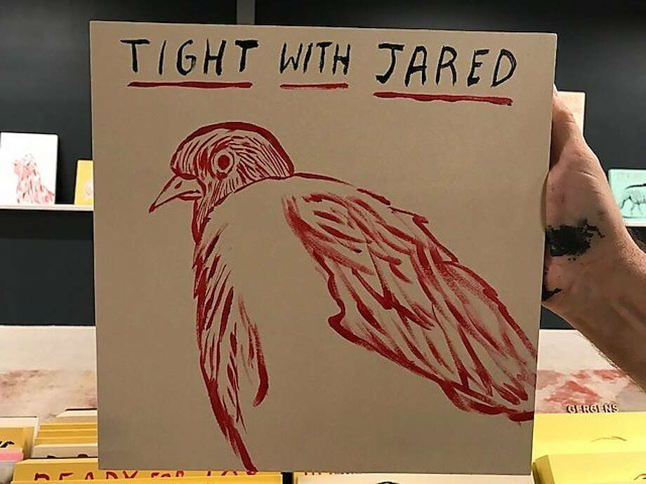 One of Dave Eggers' untrustworthy birds, in exhibition at Electric Works gallery. Photo: Leah Garchik, San Francisco Chronicle