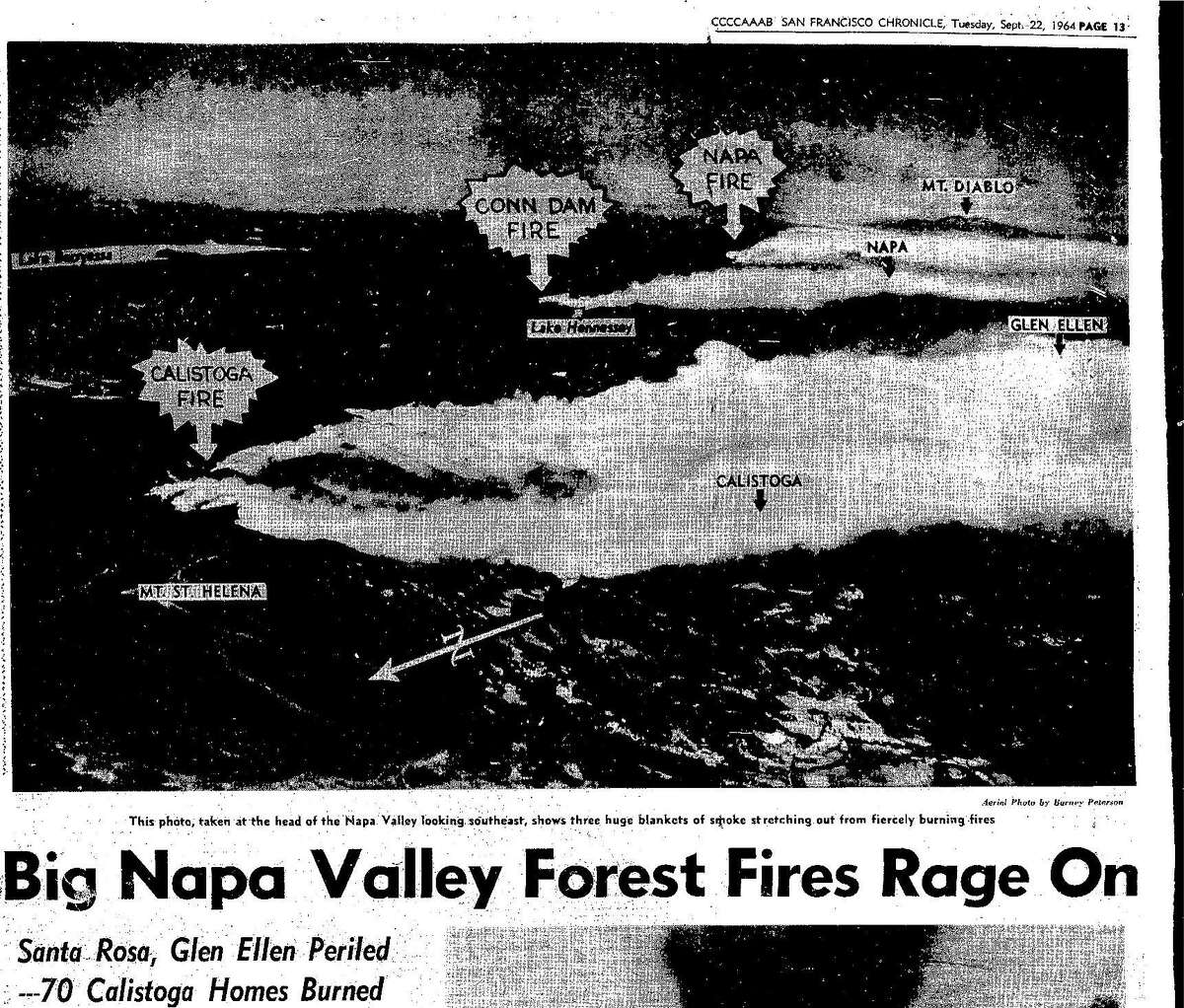 September 22, 1964 Chronicle map shows how widespread the Hanley Fire was, as several large brushfires swept through different parts of the Wine Country, eventually spreading to 5 counties.