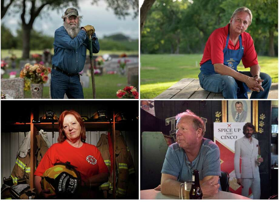 Four members, past and present, of West's volunteer fire department: Jake Sulak, top left, has dug graves for 35 years; Stevie Vanek, top right, volunteers with the Knights of Columbus; Judy Knapek is the town's first and only female firefighter; and Tommy Muska is - just like his father was - the mayor and an insurance salesman. Photo: Photos For The Washington Post By Cooper Neill And Lawrence Jenkins / Cooper Neill and Lawrence Jenkins