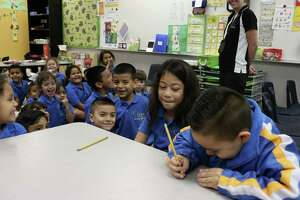 Andromeda Tuiasosopo left, and Luis Chavez, act out part of a kindergarten English lesson at IDEA Monterrey Park on the city's West Side, Thursday, Oct. 5, 2017. IDEA Public Schools received a $67 million grant from the U.S. Department of Education that will allow it to expand.