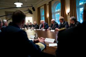 President Donald Trump speaks at a meeting with senior military leaders in the Cabinet Room of the White House in Washington, Oct. 5, 2017. Trump has approved a broad strategy to crack down on Iran for its ballistic missile program and support for militant groups, according to a senior administration official, although he has yet to sign off on �decertifying� the nuclear accord negotiated by the Obama administration. (Doug Mills/The New York Times)