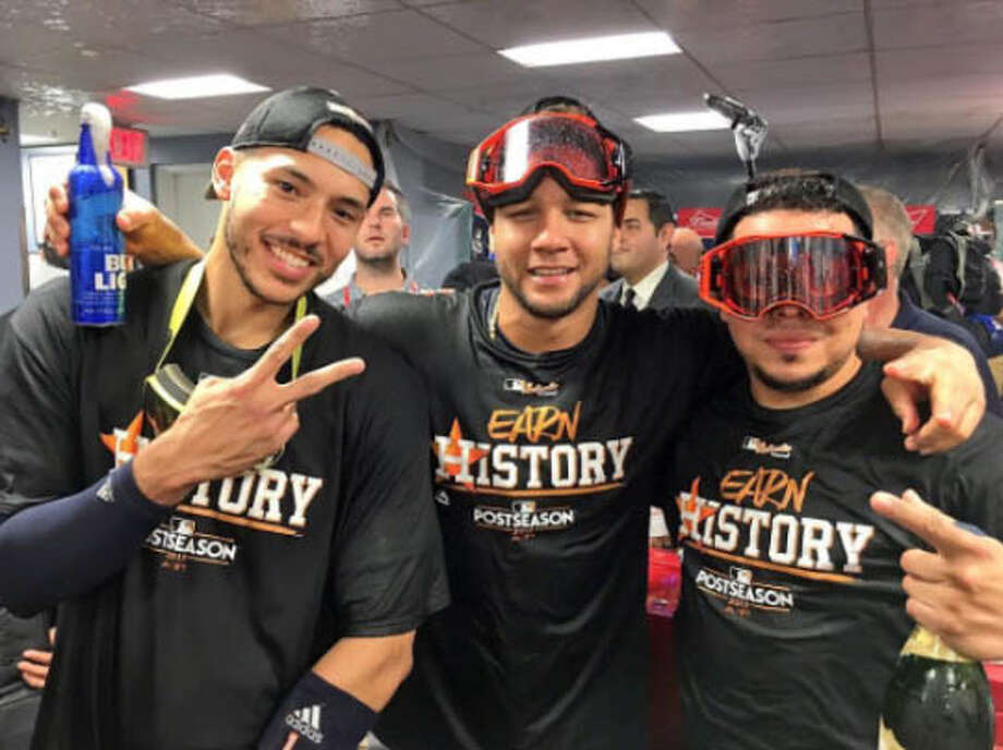 PHOTOS: How the Astros celebrated their big win on Instagram on MondayThe Astros' Carlos Correa posted this picture to Instagram with teammates Yuli Gurriel and Juan Centeno after the Astros eliminated the Boston Red Sox in the American League Division Series on Monday, Oct. 10, 2017.Browse through the photos to see how the Astros celebrated through Instagram posts after eliminating the Red Sox on Monday. Photo: Instagram