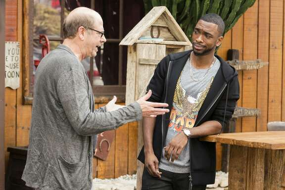 Stephen Tobolowsky (left) and Jay Pharoah in a show that explores the question of whether a black performer is only as successful as the number of whites in the audience.
