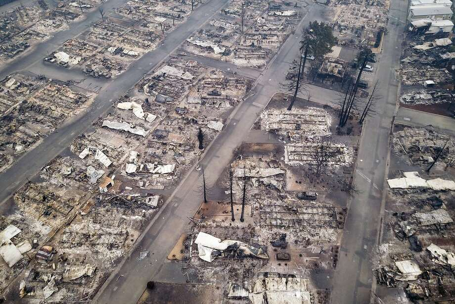 The remains of the Journey' s End mobile-home park are seen from the air in Santa Rosa on Tuesday . California will experience large fires every year. Photo: Elijah Nouvelage, Special To The Chronicle