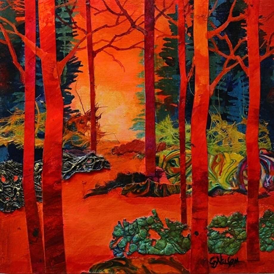 "A mixed media painting titled ""Scarlett Trees,"" by Carol Nelson, a Colorado artist who will be leading a Mixed Media workshop at the Gallery at the Madeley Building in mid-October."