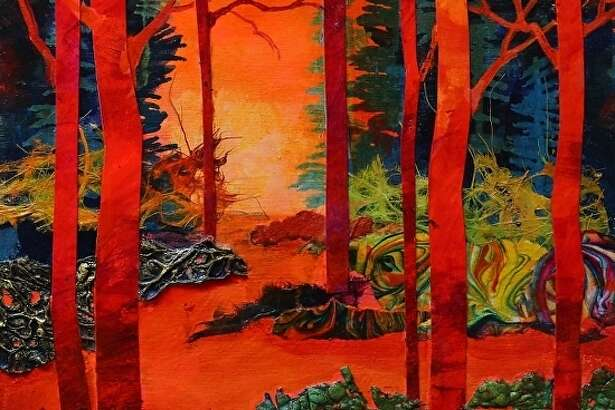 """A mixed media painting titled """"Scarlett Trees,"""" by Carol Nelson, a Colorado artist who will be leading a Mixed Media workshop at the Gallery at the Madeley Building in mid-October."""