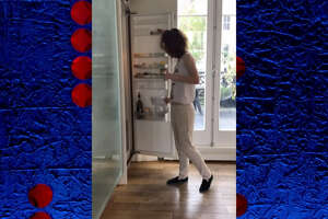 "A photograph of video footage shows actress Rose Leslie frightened after her fiance Kit Harington placed a severed head prop in their refrigerator. The clip aired on ""The Jonathan Ross Show"" on Oct. 9, 2017."