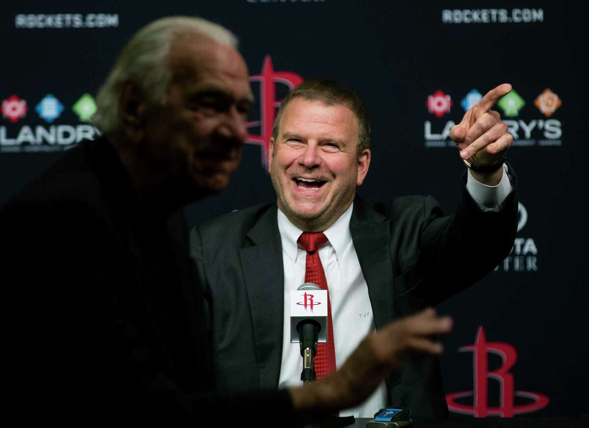 Houston Rockets owner Tilman Fertitta smiles as he introduces his father, Vic, during a news conference introducing him as the Rockets new owner at Toyota Center on Tuesday, Oct. 10, 2017, in Houston.
