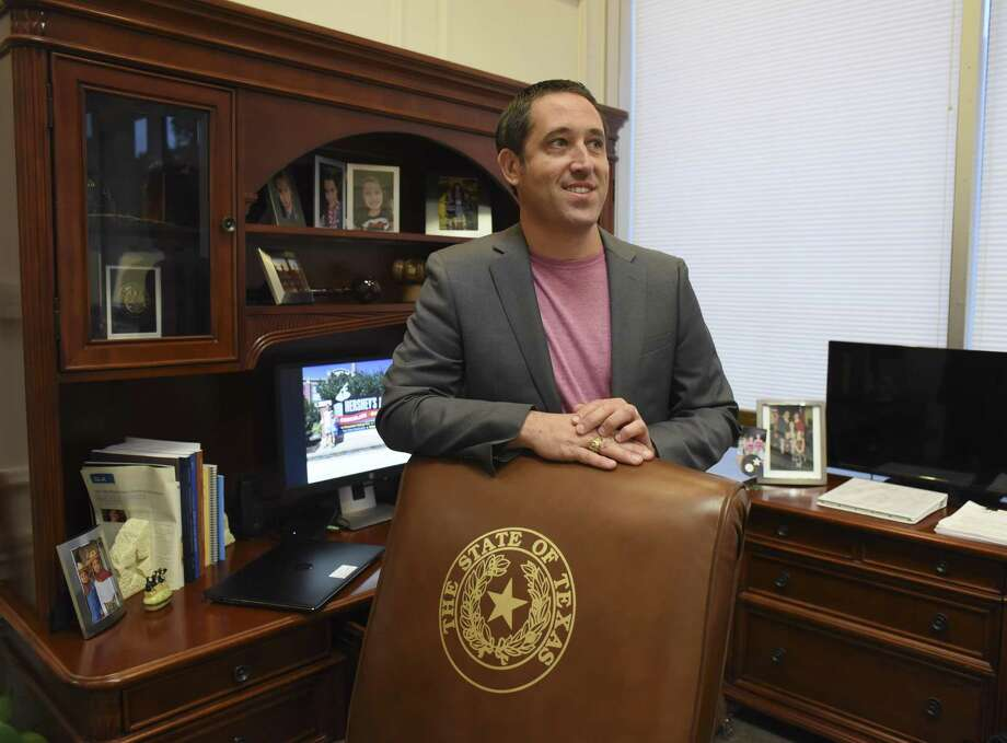 State Comptroller Glenn Hegar holds an elected position. His office keeps accountings of state funds, collects taxes, and estimates revenue and expenditures for the state of Texas. Hurricane Harvey and associated recovery expenses are going to be a challenge for Hegar. He is photographed in his Austin office on Tuesday, Oct. 10, 2017. Photo: Billy Calzada, Staff / San Antonio Express-News / San Antonio Express-News