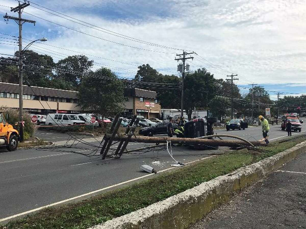 An improper lane change caused a crash on Black Rock Turnpike Tuesday afternoon, bringing down a utility pole and closing a portion of the street. Fairfield,CT. 10/10/17