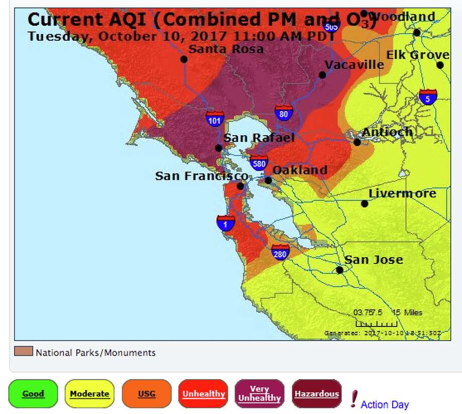 Air quality around the Bay Area on Oct. 10, 2017. Photo: AirNow/EPA/Bay Area Air Quality Management District