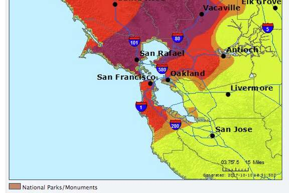 Air quality around the Bay Area on Oct. 10, 2017.