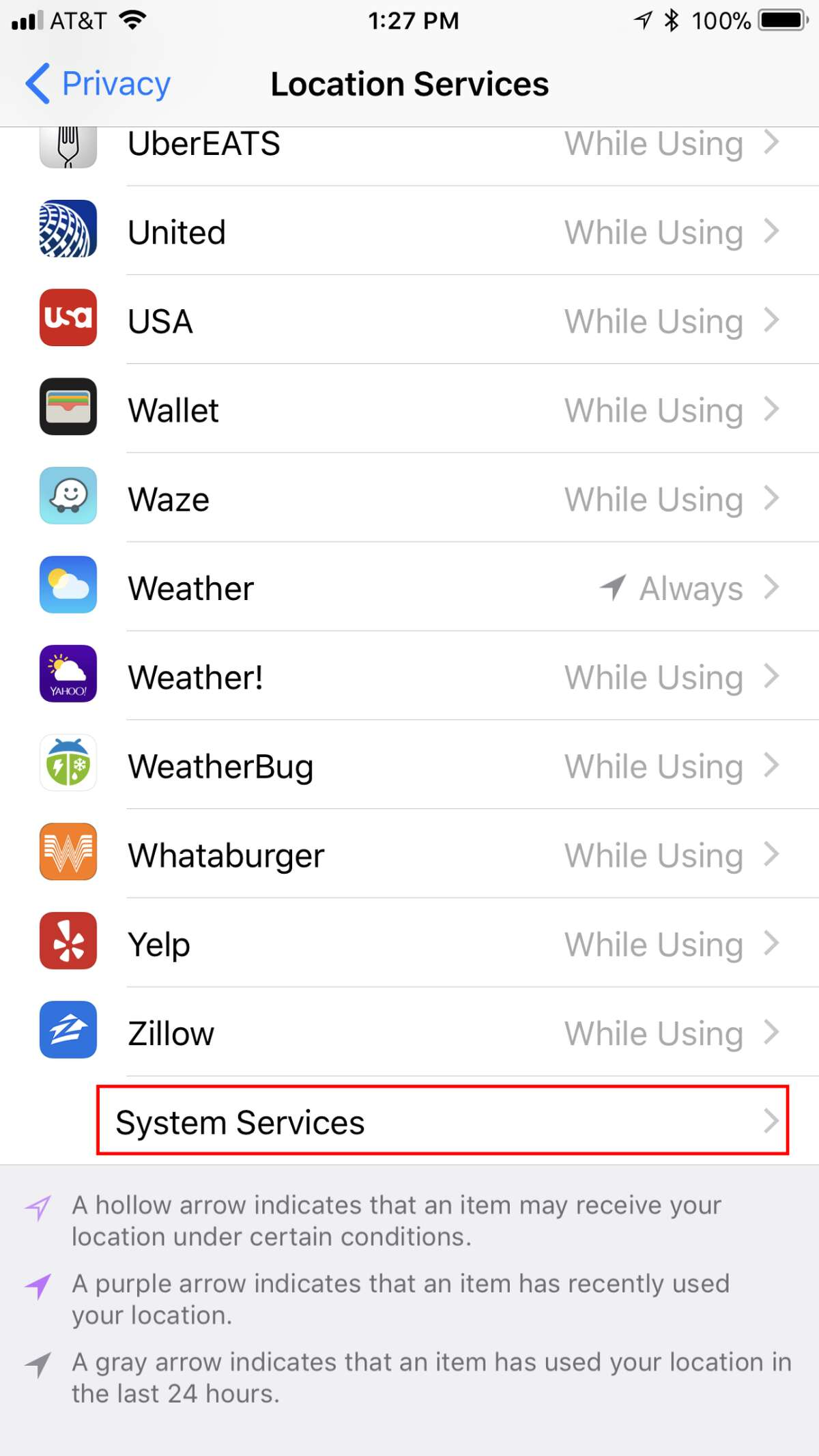Scroll all the way down to System Services.