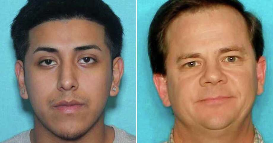 Jonathan Andrew Perales (left), 18, faces a charge of capital murder. He is being treated at San Antonio Military Medical Center for two gunshot wounds. Michael Clayton Robinson, 51, was shot and killed early Tuesday at his home in Universal City. Photo: Universal City Police Department