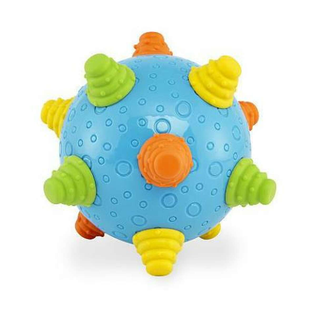 Toys R Us is recalling 29,700 Bruin infant wiggle ball toy's in the United States because the wiggle balls rubber knobs and plastic back can detach, posing a choking hazard to infants. Photo courtesy of the U.S. Consumer Product Safety Commission.