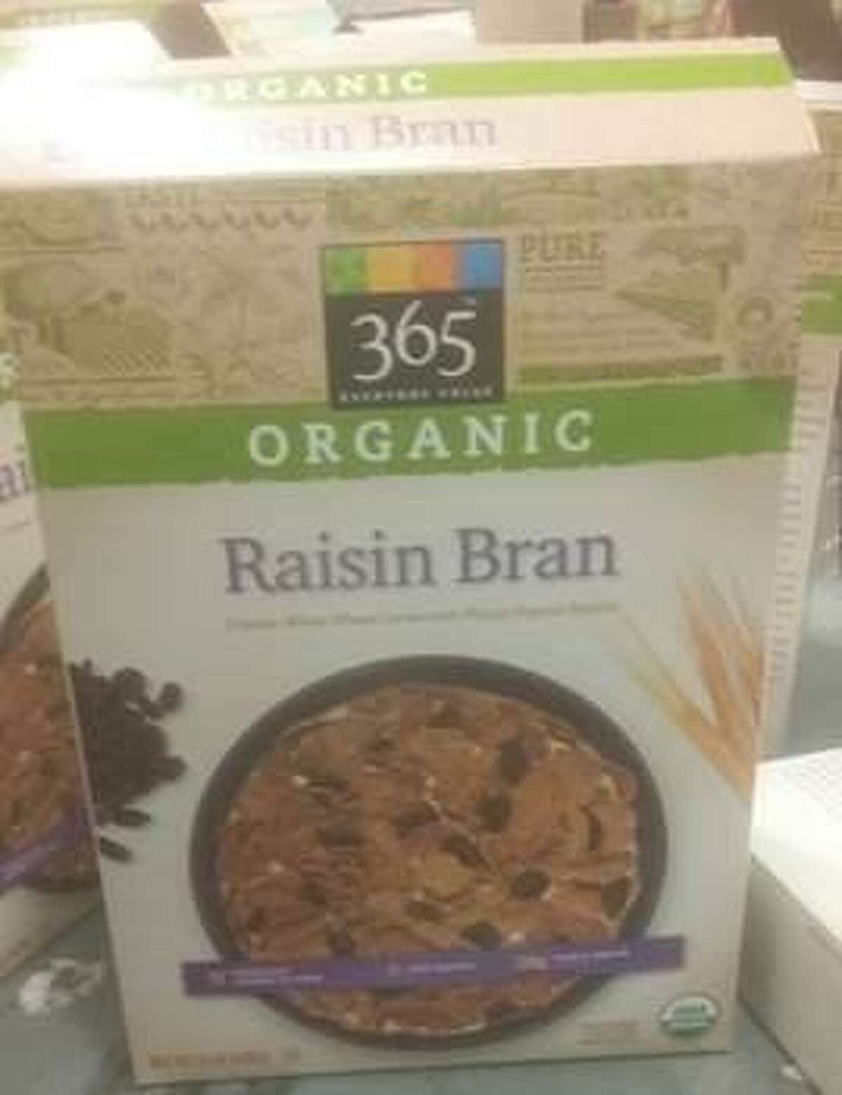 Whole Foods Market stores are recalling 365 Everyday Value Organic Raisin Bran because the product contains undeclared peanuts that were not listed on the product label. Photo courtesy of the U.S. Food and Drug Administration.