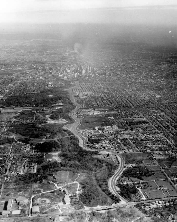 Feb. 1952 - Aerial of Buffalo Drive looking east  toward downtown Houston. Shepherd Drive is running north and south along the bottom of the photo.