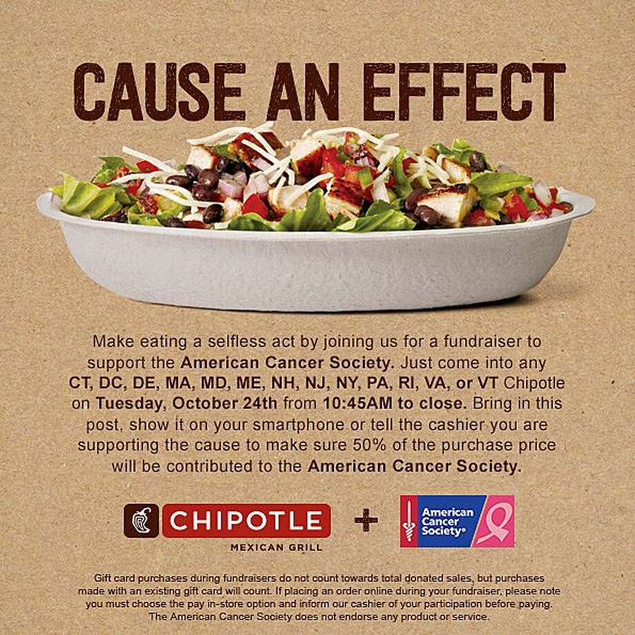 Chipotle Mexican Grill locations throughout Connecticut are giving customers a chance to give back with each meal in support of the American Cancer Society. The fundraiser will take place on Oct. 24 from 10:45 a.m. to 10 p.m. Photo: Contributed Photo / Chipotle Mexican Grill / Contributed Photo / Connecticut Post Contributed